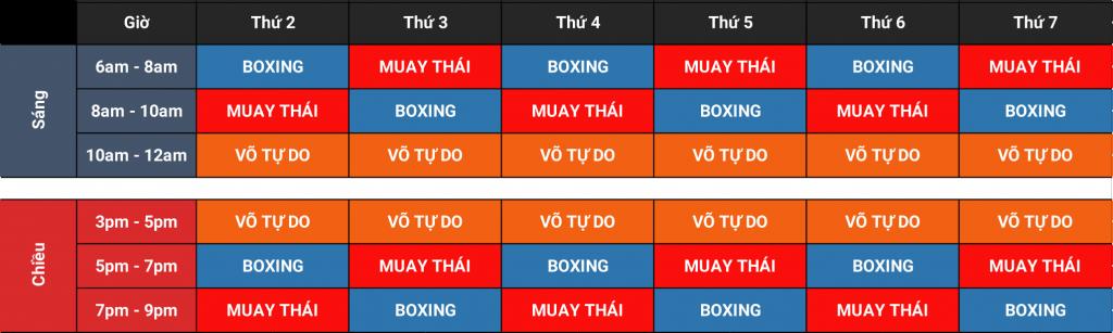 Thời khóa biểu tập luyện boxing Muay thái Kickboxing Bình Thạnh